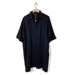 COS Black Oversize Button Down Shirt Midi Dress